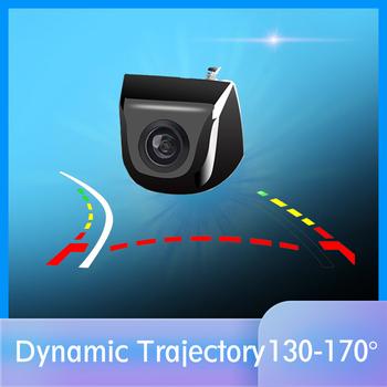 HD Real 170 stopni kąt obiektyw typu rybie oko dynamiczna trajektoria linia parkowania widok z tyłu samochodu kamera cofania do monitora samochodowego tanie i dobre opinie THREECAR Plastikowe + Szkło Drutu Systemy alarmowe Pojazd backup kamery Z tworzywa sztucznego Parking Sensors Rear View Camera