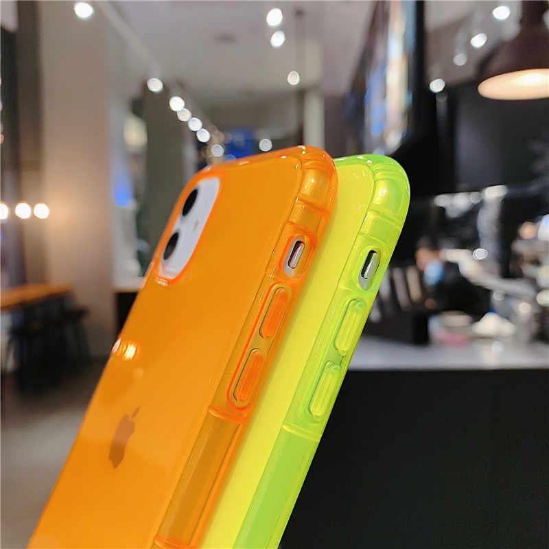 LOVECOMเรืองแสงสีกันกระแทกโทรศัพท์สำหรับiPhone 11 Pro Max XR X XS Max 7 8 Plus Neon soft TPUล้างฝาครอบโทรศัพท์