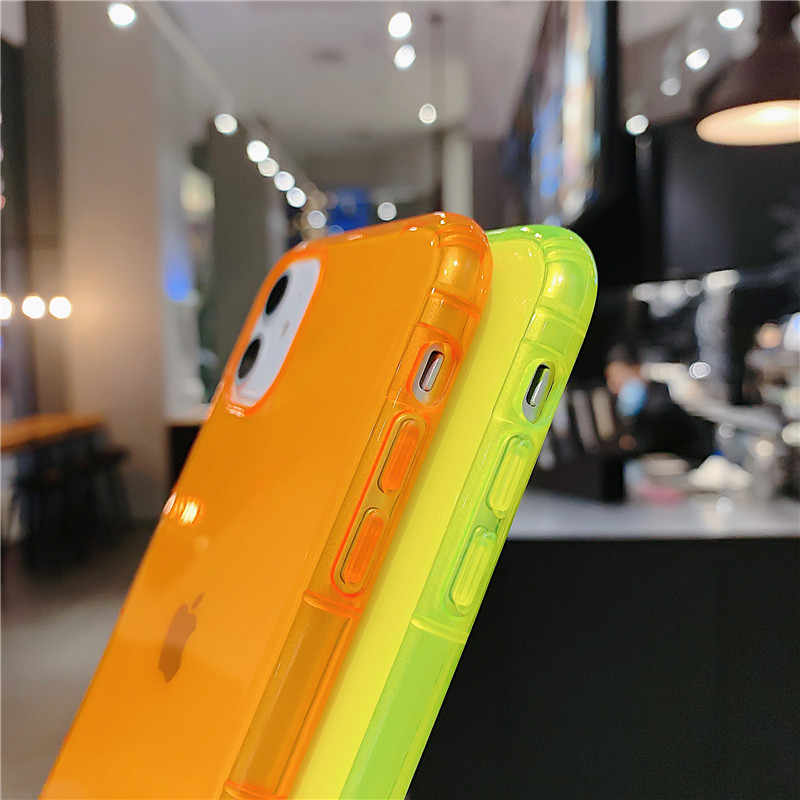 Lovecom Fluorescerende Kleur Shockproof Phone Case Voor Iphone 11 Pro Max Xr X Xs Max 7 8 Plus Neon Case soft Tpu Clear Telefoon Cover
