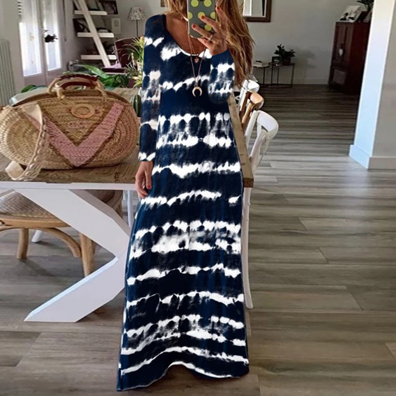 Spring Autumn Vintage Long Sleeve Party Dress Women Casual Striped Print Loose Long Maxi Dress Vestidos Plus Size 5XL