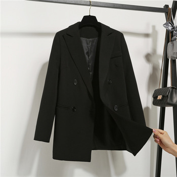 New Autumn Fashion Women's Long Sleeve Double Breasted Student Jacket Loose Casual Black Women Blazers Jackets Work Wear Coat 1