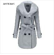 Autumn Winter Coat Women 2019 Fashion Vintage Slim Double Breasted Jackets Female Elegant Long Warm White Coat casaco feminino 79
