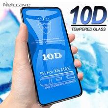 50 pçs 10d cobertura completa de vidro temperado para iphone 12 mini 11 pro xs max xr x 8 plus 7 6s se 2020 capa de filme protetor de tela