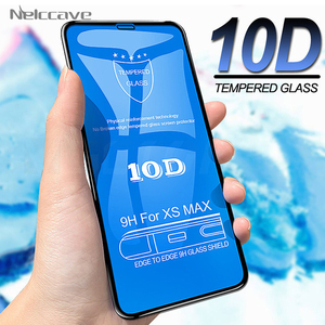 Image 1 - 50Pcs 10D Full Coverage Tempered Glass For iPhone 12 Mini 11 Pro XS Max XR X 8 Plus 7 6 6S SE 2020 Cover Screen Protector Film