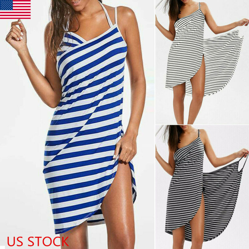 US Women Striped Color Beach Smock Skirt Bathing Suit Bikini Swimwear Cover Up Seaside Maxi Dress Sarong Wrap Pareo Blue Black
