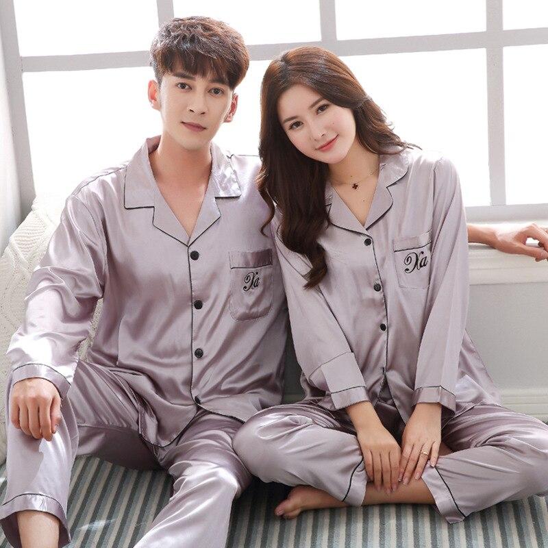 Men Women Satin Elegant Spring Lovers Pijiama Silk Kimono Long Sleves Solid Pyjamas Gown Two Piece Pajamas Sets Sleepwear