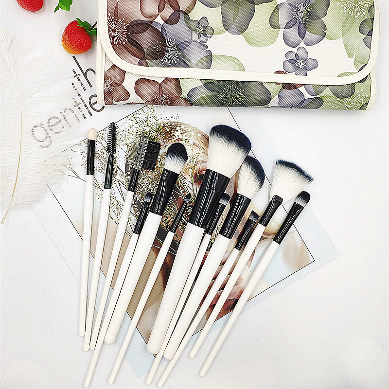 12pcs Pro Makeup Brush Sets Portable For Foundation Brushes, Eyeshadow Foundations,Beauty Tools With Retro Storage Bag