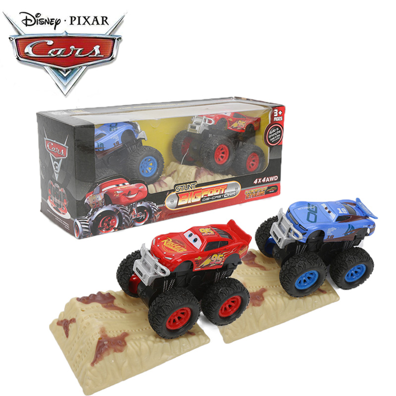 Pack Of 2 9cm Disney Pixar Cars 3 Toys Stunt Big Foot Die-cast Car Lightning McQueen Jackson Storm Dinoco Pull Back Cars Model