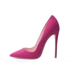 Image 5 - GENSHUO Faux Suede Pointed Toe Stilettoรองเท้าส้นสูงปั๊มตื้นSLIP ON Stilettoรองเท้าส้นสูงรองเท้าจัดงานแต่งงานสีม่วงสีฟ้าสีน้ำตาล