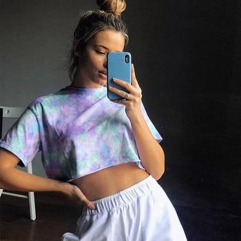 Tie Dye Oversized Cropped T shirt Women 2020 Summer Short Sleeve Casual Loose Cotton Crop Top T-shirts Hip Hop Streetwear Tops