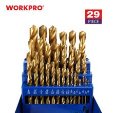 WORKPRO 29 Piece Titanium Drill Bit Set in Metal Case
