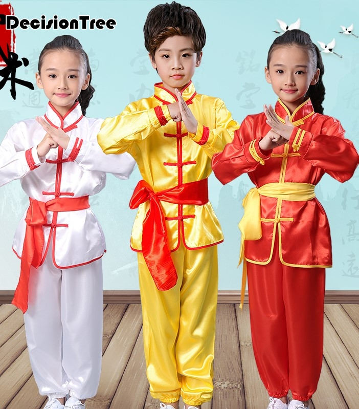 2019 Children Kid Chinese Traditional Wushu Tai Chi Uniform Kungfu Costumes Martial Arts Sets Performance Suit For Children