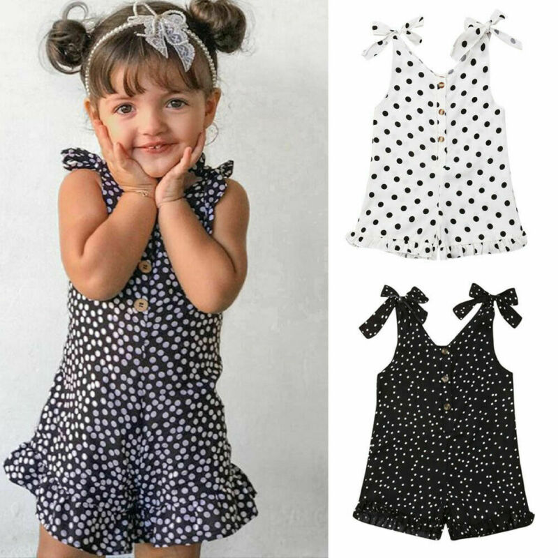 Toddler Kid Baby Girl Clothes Strap Polka Dot Romper Summer Holiday Outfit IN