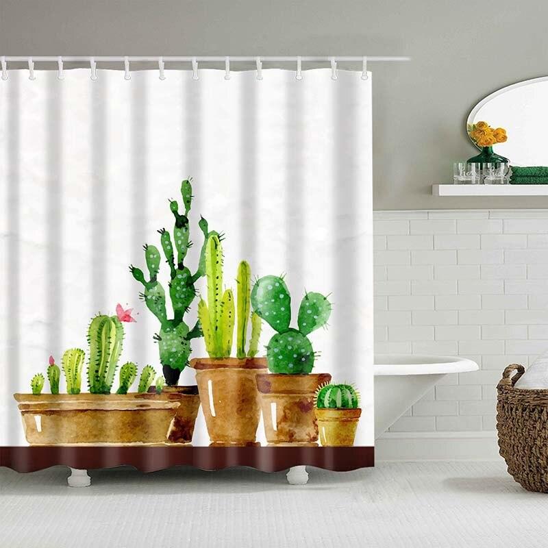 Тропический кактус, занавеска для душа, полиэфирная ткань, занавеска для ванной комнаты, украшения для ванной комнаты, мульти-размер, занавеска для душа с принтом s - Цвет: 7