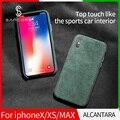 Чехол для телефона SanCore для iPhone X Xr XS Max  кожаный чехол для телефона ALCANTARA  модный бизнес  анти-осенняя кожа  роскошный Премиум чехол для телефо...