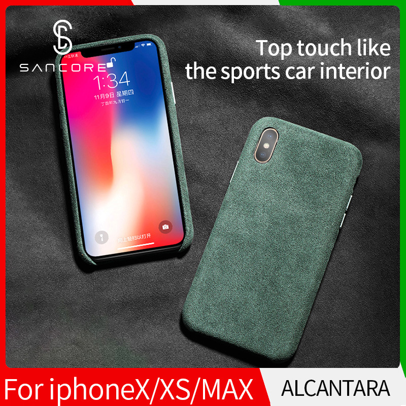 SanCore for iPhone X Xr XS Max phone Case Leather ALCANTARA Fasion Business Anti fall Leather