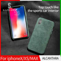 SanCore iPhone X Xr XS Max phone Case Leather ALCANTARA Fasion Business Anti-fall Leather Luxury premium cellphone Anti-wear