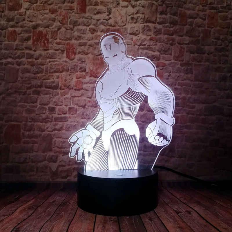 Marvel Homem De Ferro Modelo 3D Ilusão Cores Em Mudança de Luz LED Nightlight 7 Avengers Superhero ironman Figura Brinquedos