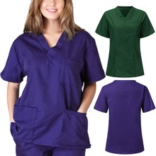 Women man Fashion Scrubs Tops V-Neck Short Sleeves Shirt with Two Large Pockets Beauty