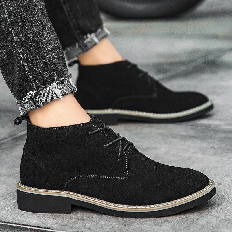Mens Leather Chelsea Boots Shoes Lace up Hidden Heel Motorcycle Biker Casual New
