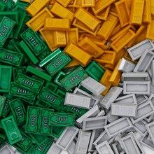 Accesorios de ciudad ladrillos, dinero, Mini figura 1x2, bulón, 100 dólares, Lote de Billetes, amigos, Juguetes de bloques de construcción, ciudad, piezas, modelo a granel