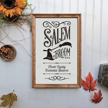 Salem Broom Sign Canvas Art Poster Halloween Holiday Poster Black&White Picture Home Decor For Living Room Bedroom Wall Art Mura image