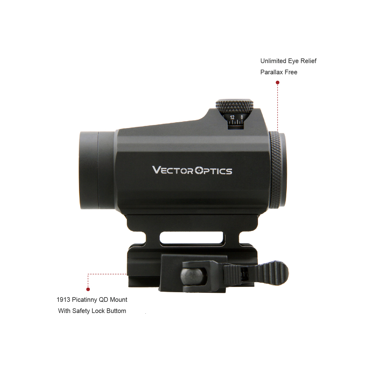 Red Dot Scope Sight Qd-Mount Vector-Optics Airsoft 1x22 Real-Firearms Maverick Tactical