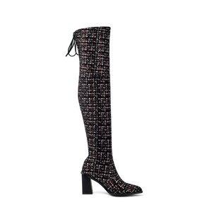 Image 3 - Женские сапоги выше колена MORAZORA, Черные Сапоги выше колена с острым носком, на высоком каблуке, осенне зимний сезон 2020