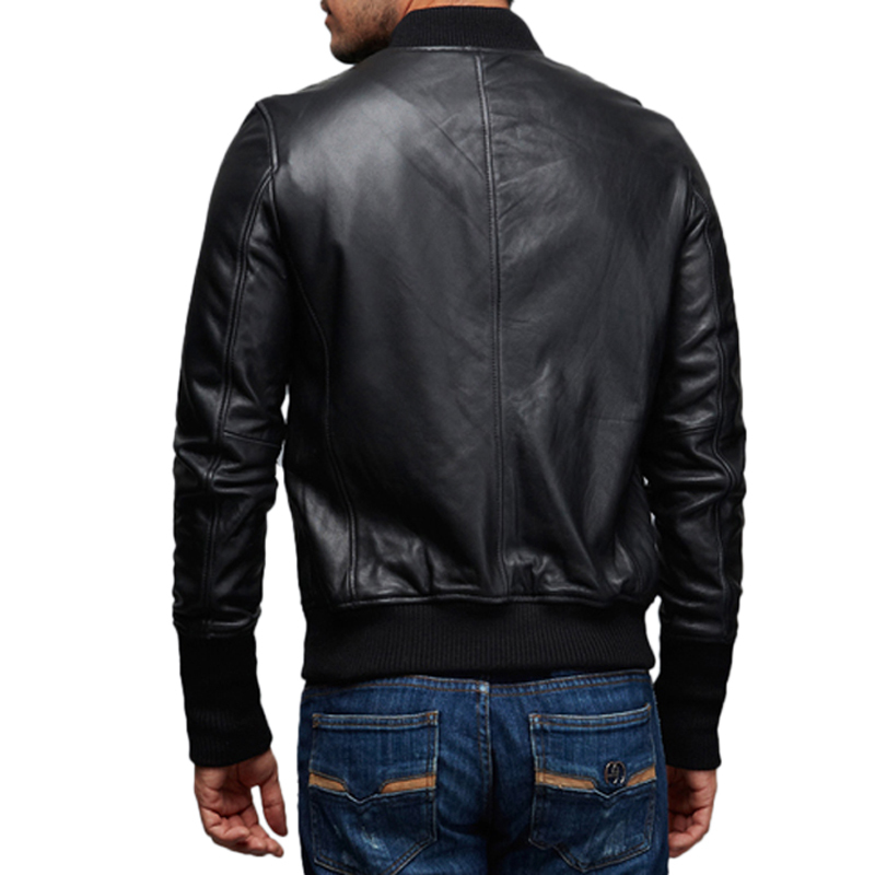Factory Genuine Leather Jacket Men High Quality New Zealand Sheepskin Black Soft Slim Fit Bomber Men's Coat Autumn Jaqueta ZH155