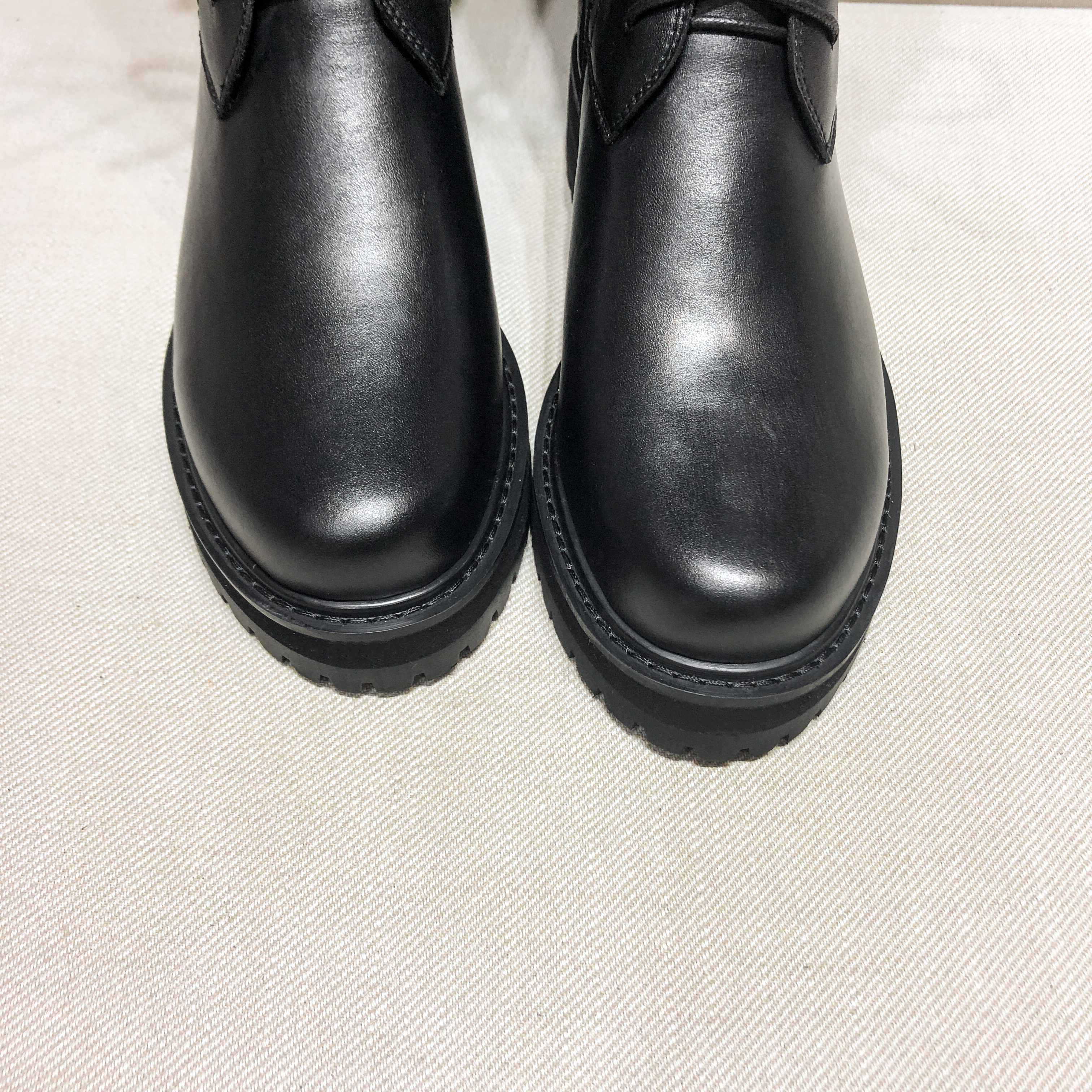 krazing pot genuine leather lace up med heels round toe punk superstar equestrian boots buckle fasteners over-the-knee boots 4
