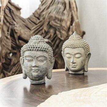 Resin Buddha Statue Figurines Chinese Garden Large Head Sandstone Decor Decoration