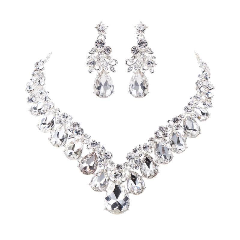 Brillante Plata Redondo Diamante Pendientes Cristal Diamante Estrás