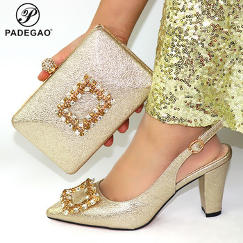 Golden Mature 2020 Special Design Ladies Matching Shoe and Bag Material with African Shoes and Bags Set for Party Women Shoes