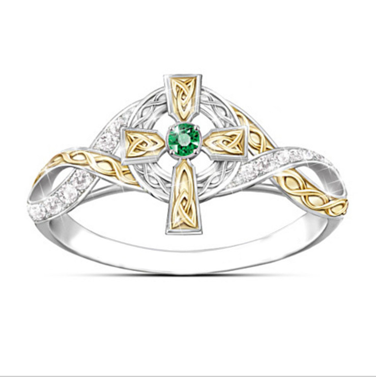 Exquisite Silver Hollow Cross Zircon Rings for Bride Wedding Band Engagement Ring Simple Fine Rings for Women Jewelry