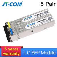 5 par 20KM SM BIDI SFP Gigabit Módulo Conector LC Fibra Monomodo Transceiver Óptico Compatível com Cisco Switch Ethernet