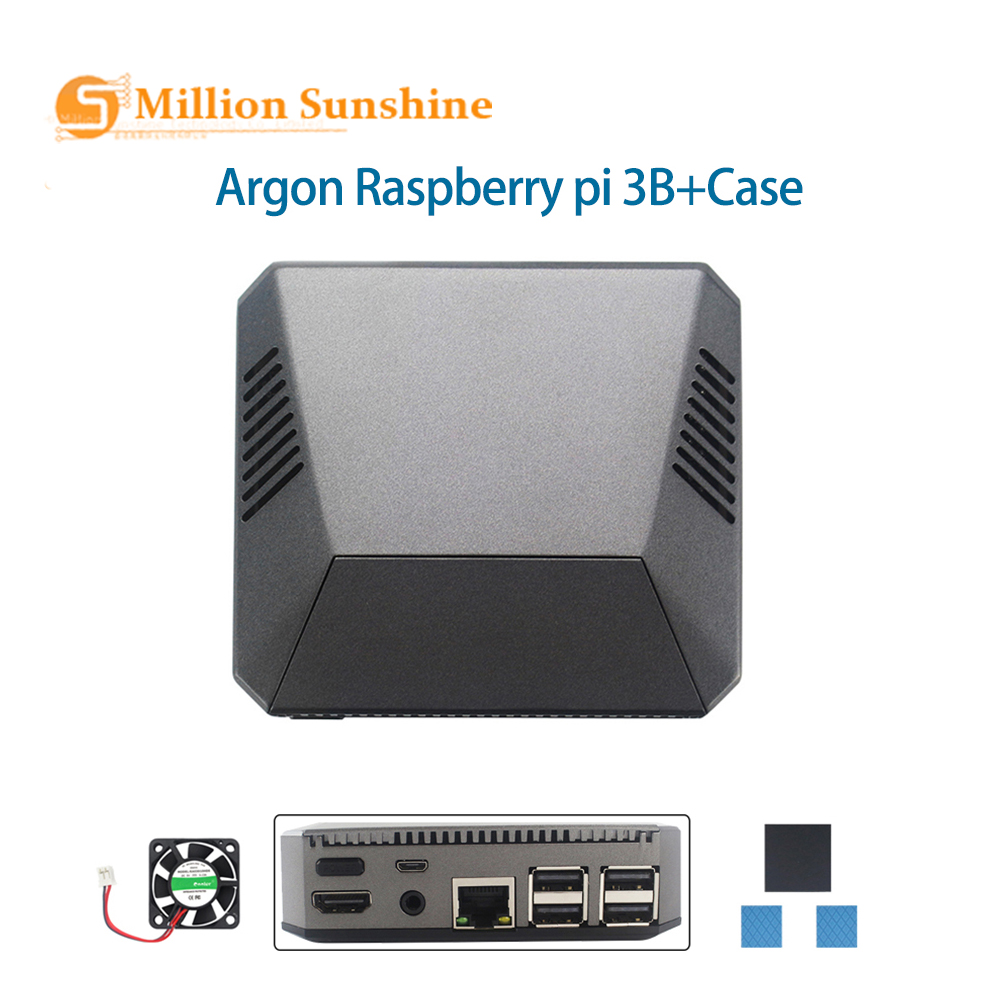 Argon Raspberry Pi 3 Case Removable Magnetic GPIO Cover Metal Shell+Cooling Fan Heat Sink For RPI 3B+/3B   RPI124