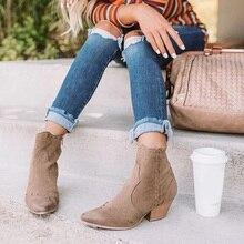 秋の女性アンクルブーツスエード女性ジップ縫製先のとがったつま先レディース女性の分厚いかかとショートブーツ女性の靴プラスサイズ2020