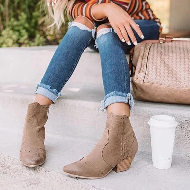 מגפי קרסול נשים סתיו זמש אישה רוכסן תפירת הבוהן מחודדת גבירותיי נשים עקבים שמנמנים מגפיים קצרים נעליים נקבה בתוספת גודל 2020