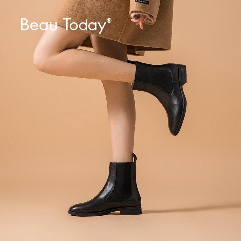 Beautoday chelsea botas femininas nova marca de couro genuíno couro redondo dedo do pé meados de bezerro botas outono inverno sapatos feitos à mão 03608