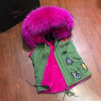 Army green Sleeveless Fur Vest Hooded Unisex Winter Coat Waistcoat outerwear Real Raccoon Fur Collar With Patch