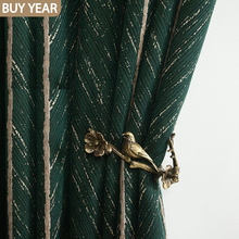 Nordic Ins Curtains for Living Room Bedroom American Light Luxury Retro Green Fish Bone Curtains Finished Product Customization