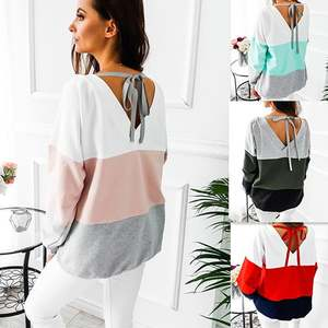 Sweatshirt Long-Sleeved Women Blocking Winter Color Casual with Bottom for