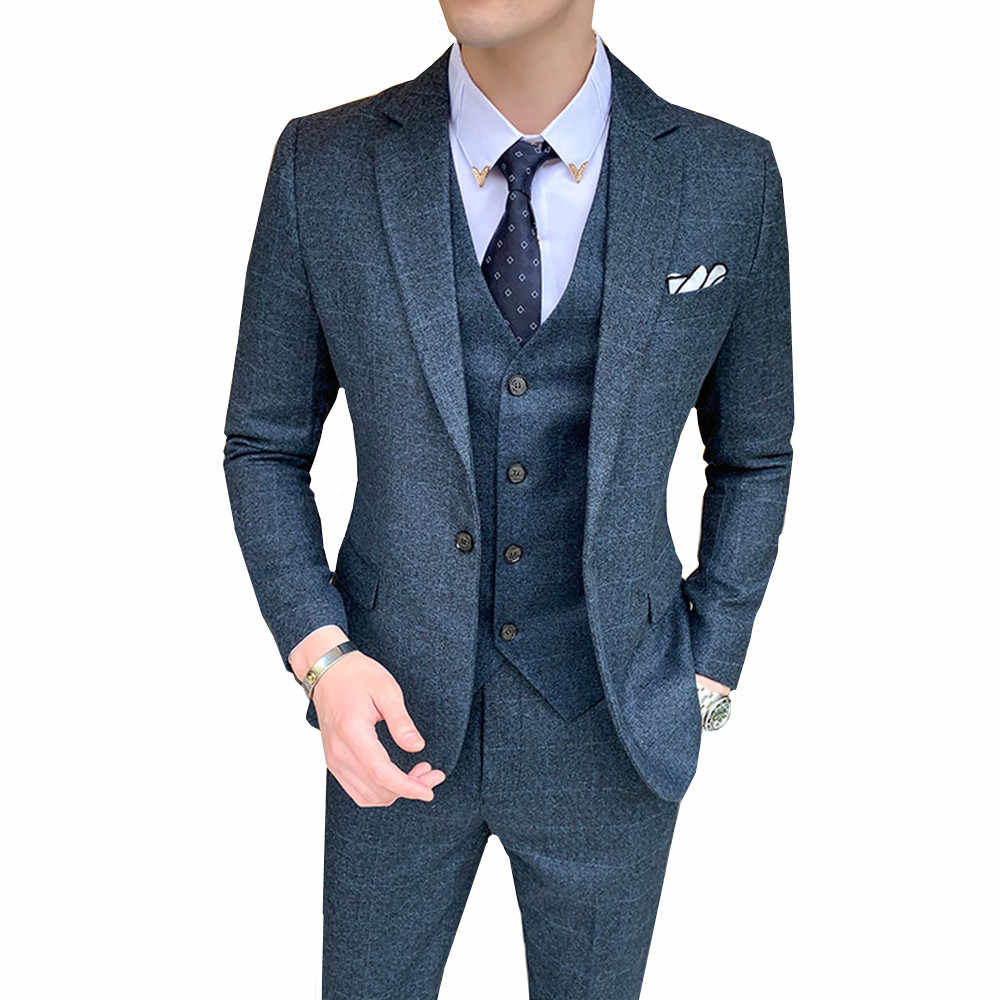 2019 new mens plaid three piece set ( jacket + pant + vest ) M-5XL wedding party male business Dress Suits Blazer Slim design