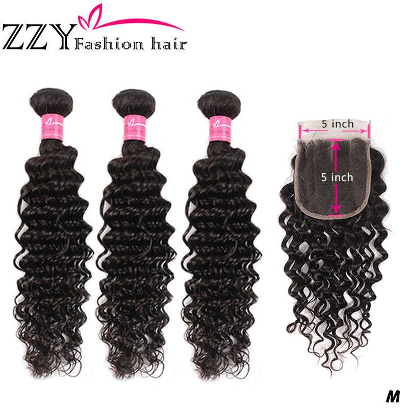 ZZY Deep Wave Bundles With Lace Closure Brazilian Human Hair Hair Weave 3Bundles With Closure 5*5 Non-remy Hair Weave Extensions