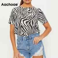 Frauen Zebra-Print T shirt Sommer Kurzarm Oansatz Tops Mode Streetwear Weibliche T-shirt Plus Größe Lose Tops Tees