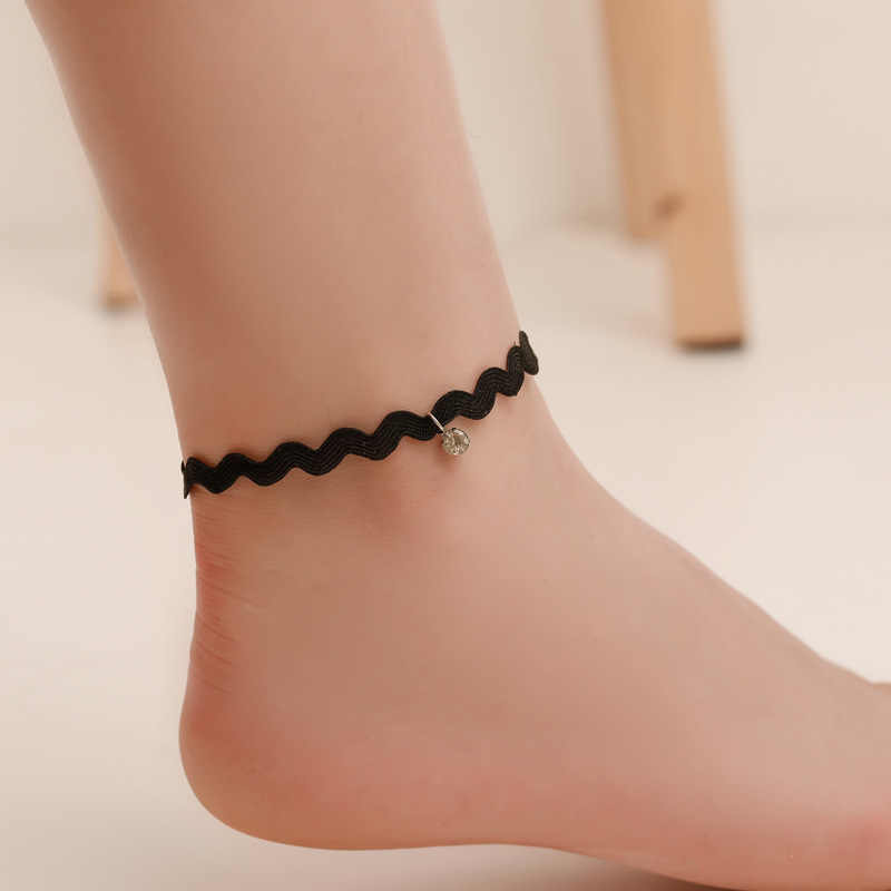 New Simple on the Leg Anklet For Women Handmade Gothic Black Vintage Lace Anklets Foot Chain Accessories Party Jewelry Gift