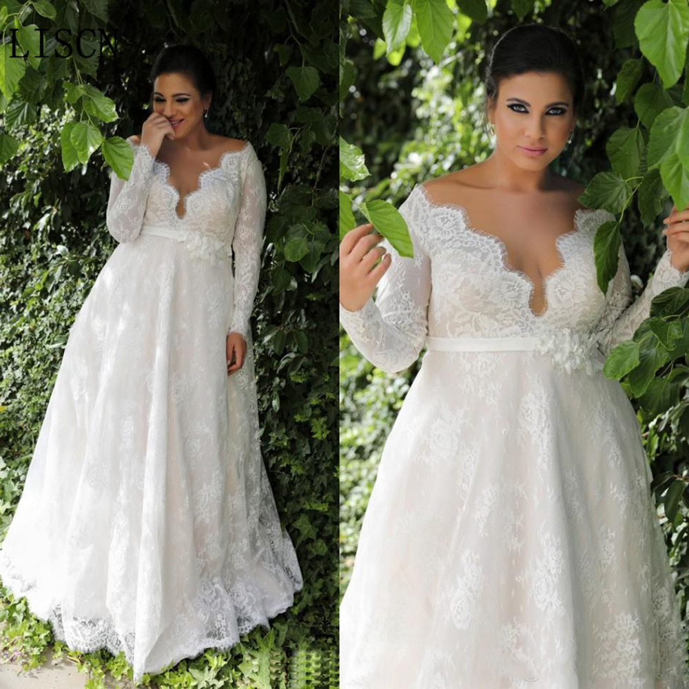 Plus Size New Arrivals Open Back Lace Deep V Neck Wedding Dress Full Sleeve A-line Long Dresses Bridal Gown With Belt Party Prom