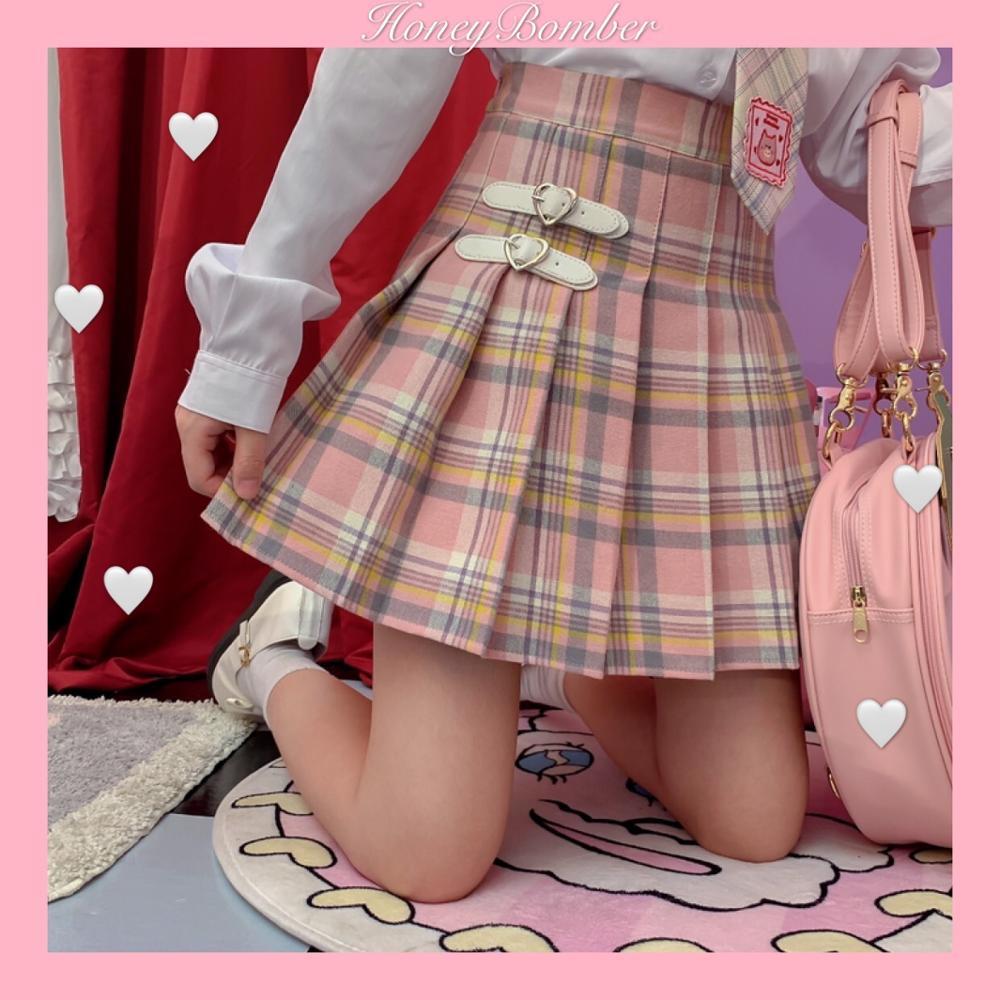Japanese Female Loving Button Plaid Pleated Skirt Young Girl Student Summer New High Waist Sweet JK Uniform Skirt Preppy Style