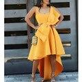 Frauen Unregelmäßige Gelbe Anlass Kleider Flare Gefaltete Partei mit fliege Feiern Damen Datiert Nacht Abendessen Event Kleider