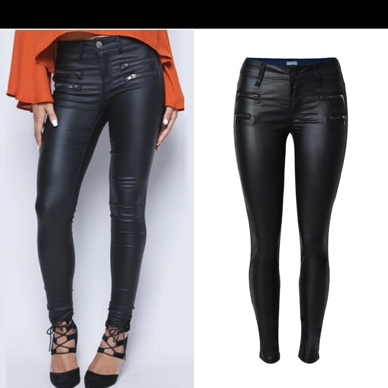 Autumn Winter Women Low Waist Slim Feet PU Leather Pants Double Zipper Black Denim Trousers Stitching Fashion Casual Jeans K167